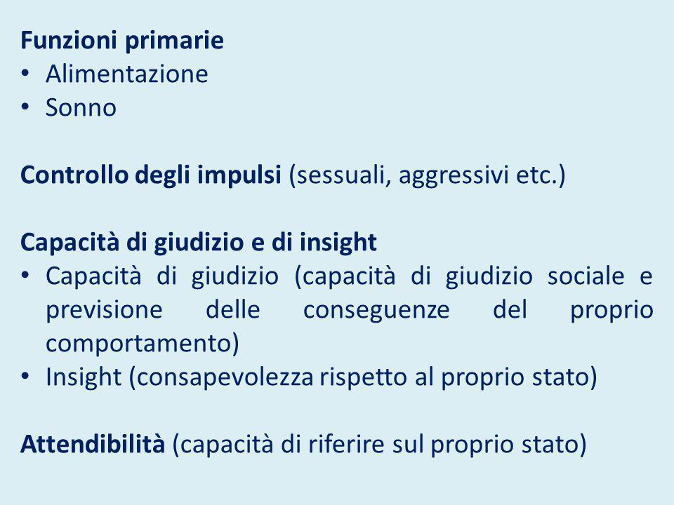 Funzioni primarie Alimentazione Sonno Controllo degli impulsi (sessuali, aggressivi etc.) Capacità di giudizio e di insight Capacità di giudizio (capa