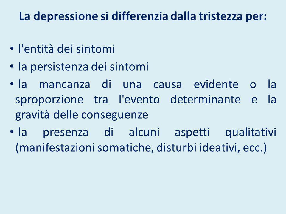 La depressione si differenzia dalla tristezza per: l'entità dei sintomi la persistenza dei sintomi la mancanza di una causa evidente o la sproporzione