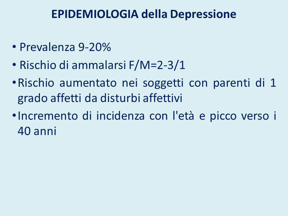 EPIDEMIOLOGIA della Depressione Prevalenza 9-20% Rischio di ammalarsi F/M=2-3/1 Rischio aumentato nei soggetti con parenti di 1 grado affetti da distu
