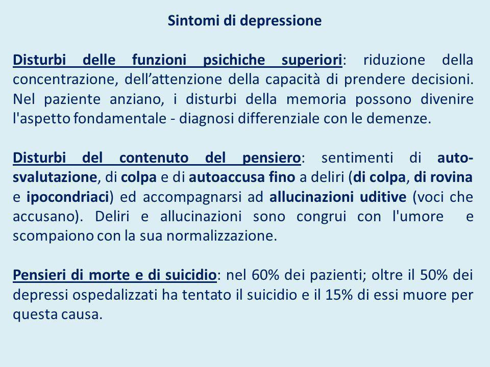 Sintomi di depressione Disturbi delle funzioni psichiche superiori: riduzione della concentrazione, dell'attenzione della capacità di prendere decisio