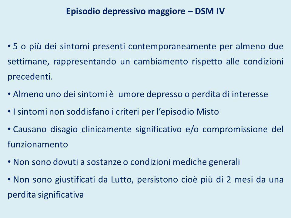 Episodio depressivo maggiore – DSM IV 5 o più dei sintomi presenti contemporaneamente per almeno due settimane, rappresentando un cambiamento rispetto