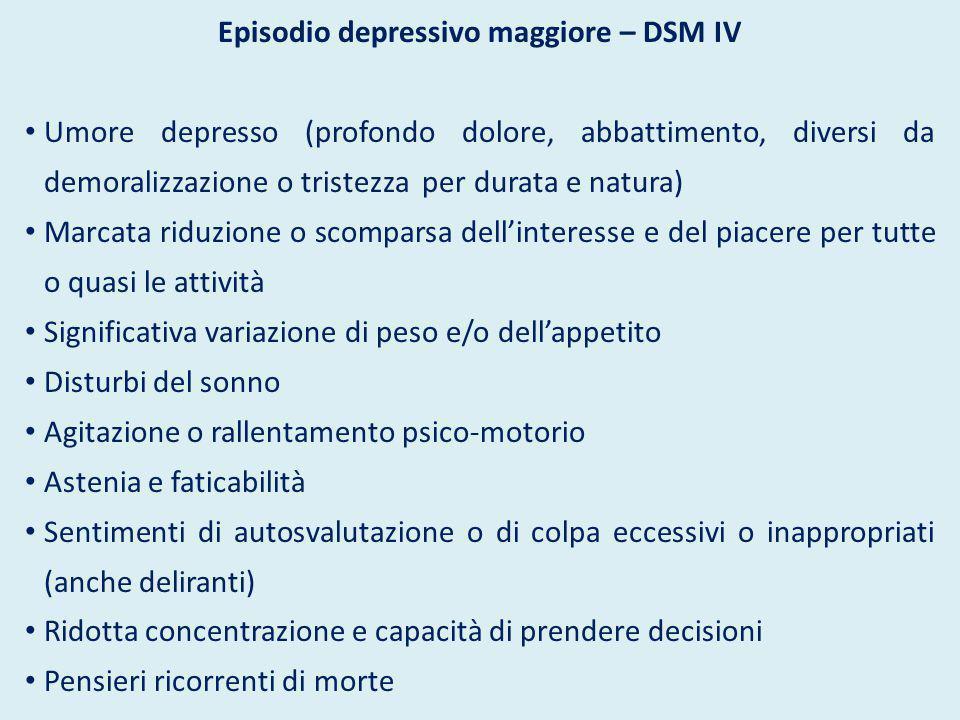 Episodio depressivo maggiore – DSM IV Umore depresso (profondo dolore, abbattimento, diversi da demoralizzazione o tristezza per durata e natura) Marc
