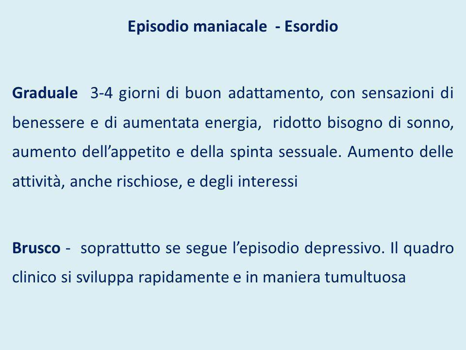 Episodio maniacale - Esordio Graduale 3-4 giorni di buon adattamento, con sensazioni di benessere e di aumentata energia, ridotto bisogno di sonno, au