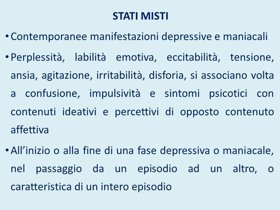 STATI MISTI Contemporanee manifestazioni depressive e maniacali Perplessità, labilità emotiva, eccitabilità, tensione, ansia, agitazione, irritabilità
