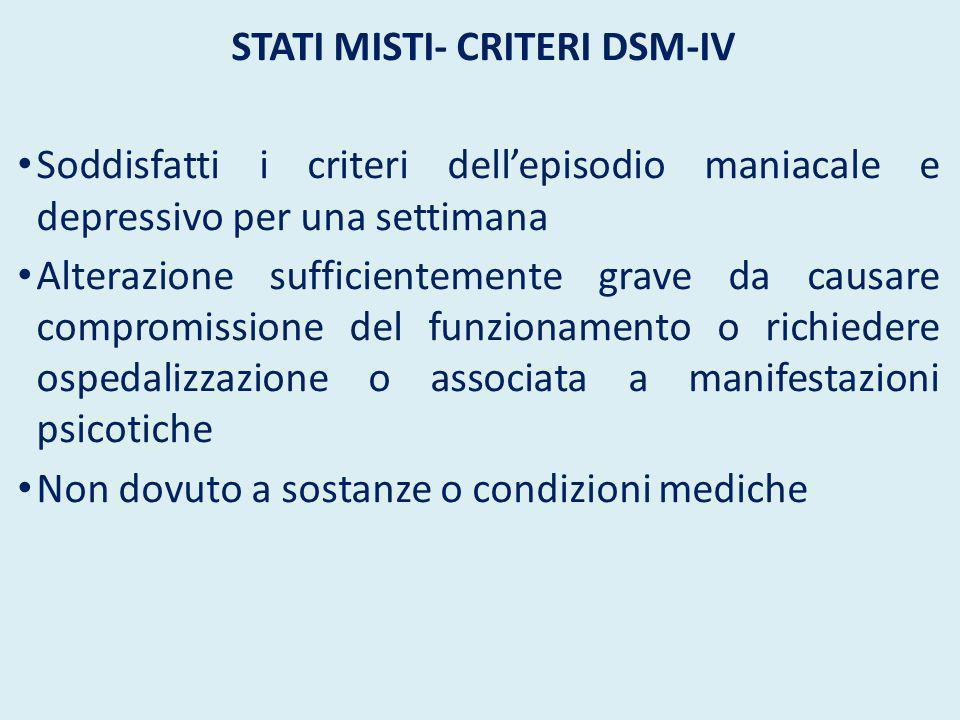 STATI MISTI- CRITERI DSM-IV Soddisfatti i criteri dell'episodio maniacale e depressivo per una settimana Alterazione sufficientemente grave da causare