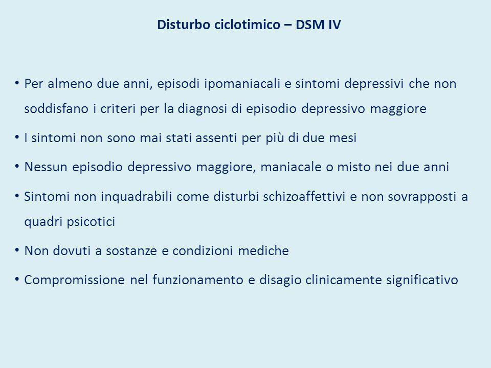 Disturbo ciclotimico – DSM IV Per almeno due anni, episodi ipomaniacali e sintomi depressivi che non soddisfano i criteri per la diagnosi di episodio