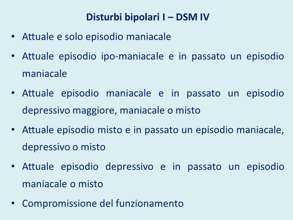 Disturbi bipolari I – DSM IV Attuale e solo episodio maniacale Attuale episodio ipo-maniacale e in passato un episodio maniacale Attuale episodio mani