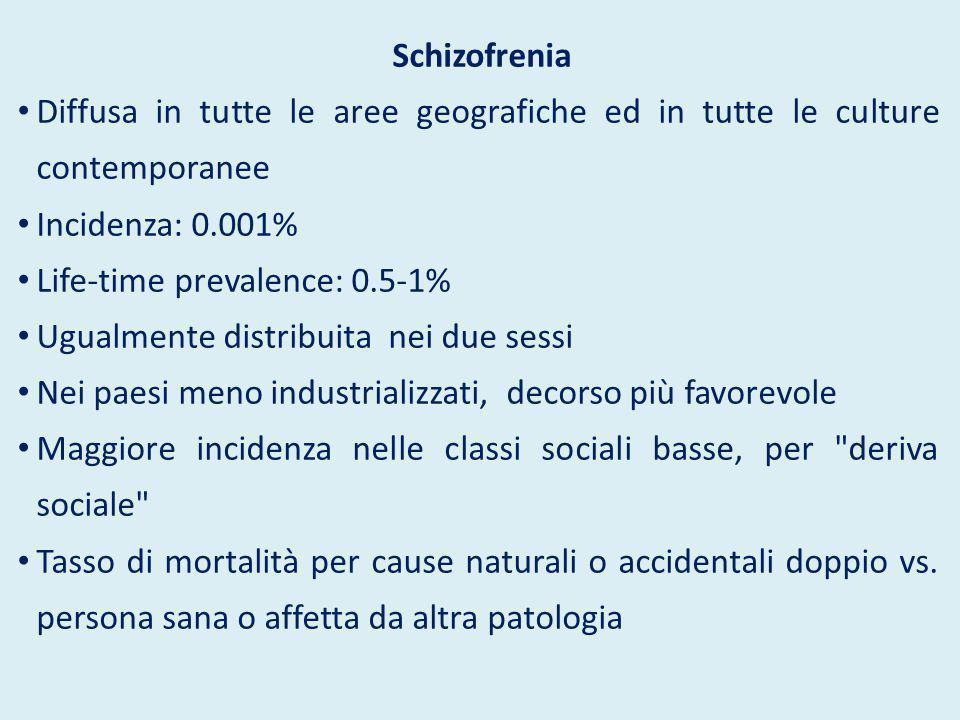 Schizofrenia Diffusa in tutte le aree geografiche ed in tutte le culture contemporanee Incidenza: 0.001% Life-time prevalence: 0.5-1% Ugualmente distr