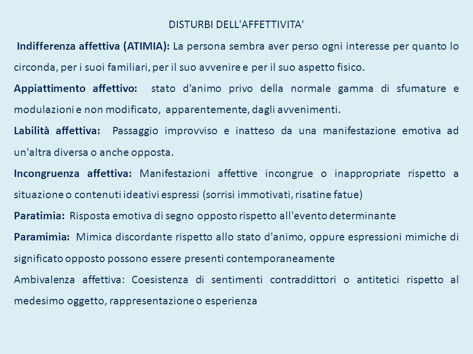 DISTURBI DELL'AFFETTIVITA' Indifferenza affettiva (ATIMIA): La persona sembra aver perso ogni interesse per quanto lo circonda, per i suoi familiari,