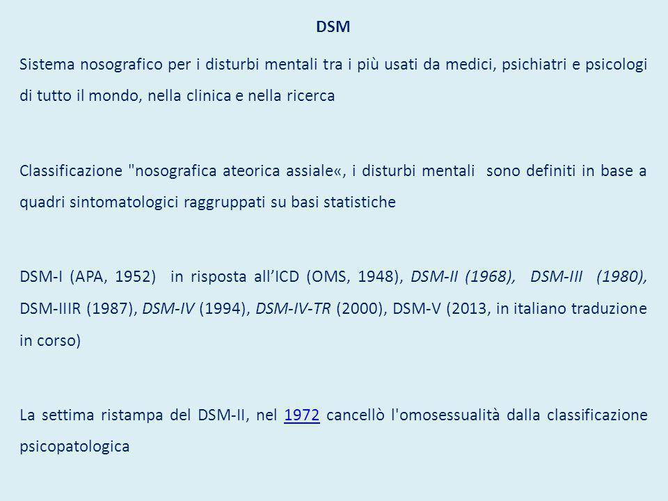 DSM Sistema nosografico per i disturbi mentali tra i più usati da medici, psichiatri e psicologi di tutto il mondo, nella clinica e nella ricerca Clas