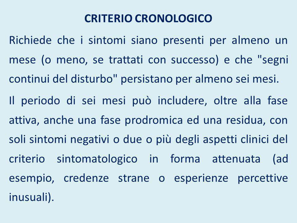 CRITERIO CRONOLOGICO Richiede che i sintomi siano presenti per almeno un mese (o meno, se trattati con successo) e che