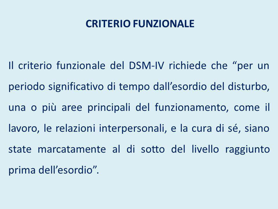 """CRITERIO FUNZIONALE Il criterio funzionale del DSM-IV richiede che """"per un periodo significativo di tempo dall'esordio del disturbo, una o più aree pr"""