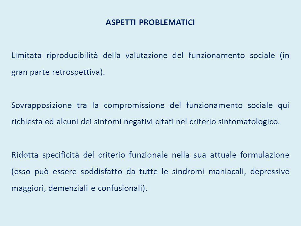 ASPETTI PROBLEMATICI Limitata riproducibilità della valutazione del funzionamento sociale (in gran parte retrospettiva). Sovrapposizione tra la compro