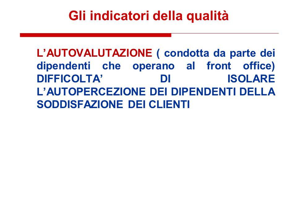 Gli indicatori della qualità L'AUTOVALUTAZIONE ( condotta da parte dei dipendenti che operano al front office) DIFFICOLTA' DI ISOLARE L'AUTOPERCEZIONE