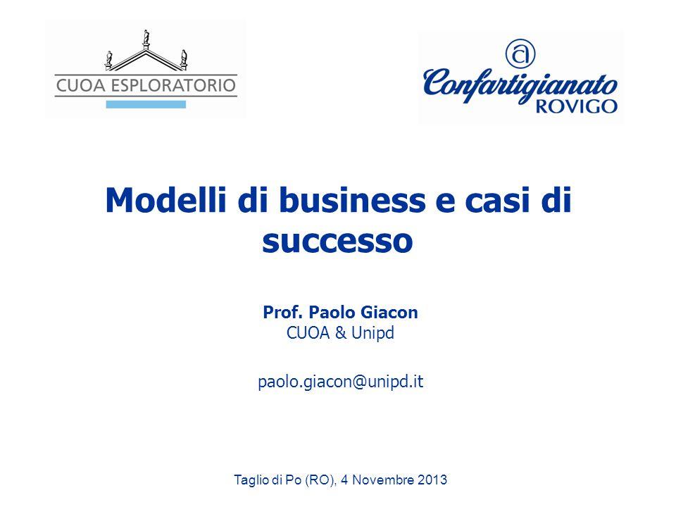 Modelli di business e casi di successo Prof. Paolo Giacon CUOA & Unipd paolo.giacon@unipd.it Taglio di Po (RO), 4 Novembre 2013