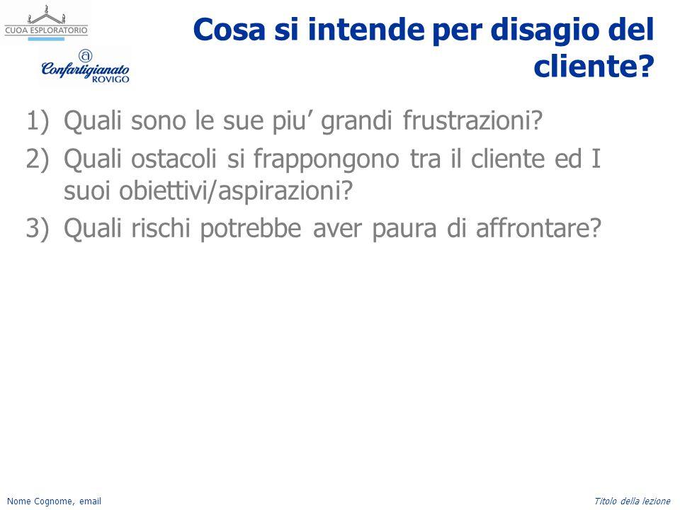 Nome Cognome, emailTitolo della lezione Cosa si intende per disagio del cliente? 1)Quali sono le sue piu' grandi frustrazioni? 2)Quali ostacoli si fra