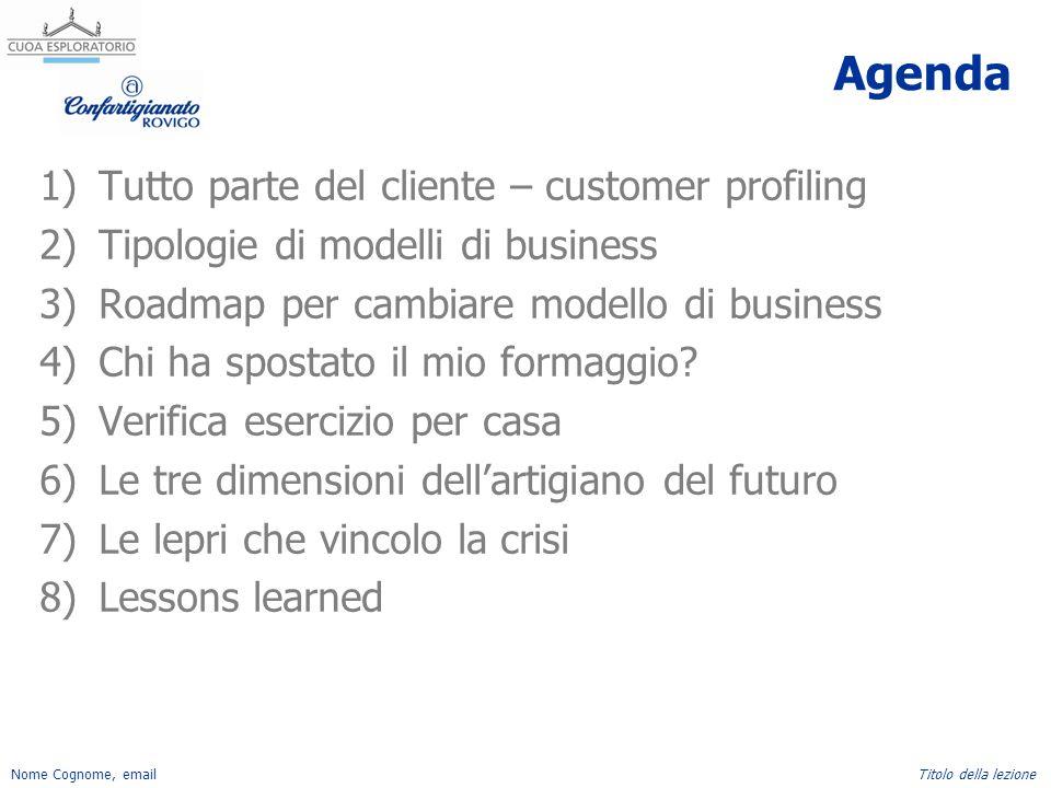 Nome Cognome, emailTitolo della lezione Agenda 1)Tutto parte del cliente – customer profiling 2)Tipologie di modelli di business 3)Roadmap per cambiar