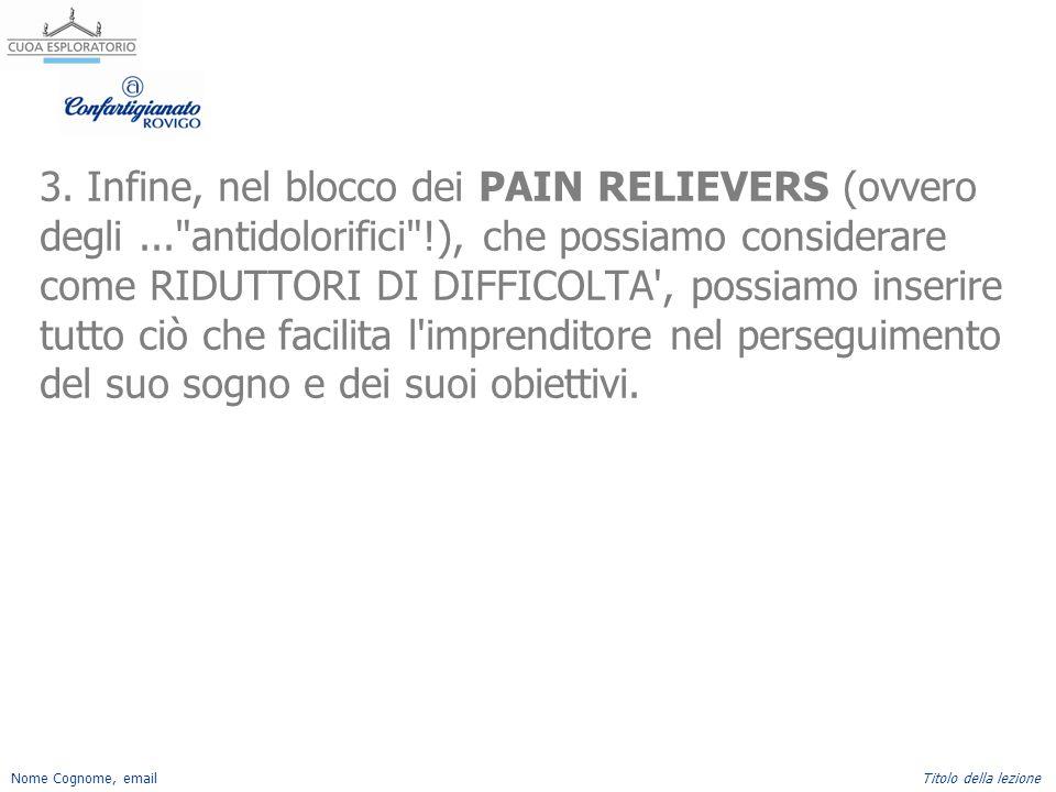 Nome Cognome, emailTitolo della lezione 3. Infine, nel blocco dei PAIN RELIEVERS (ovvero degli...