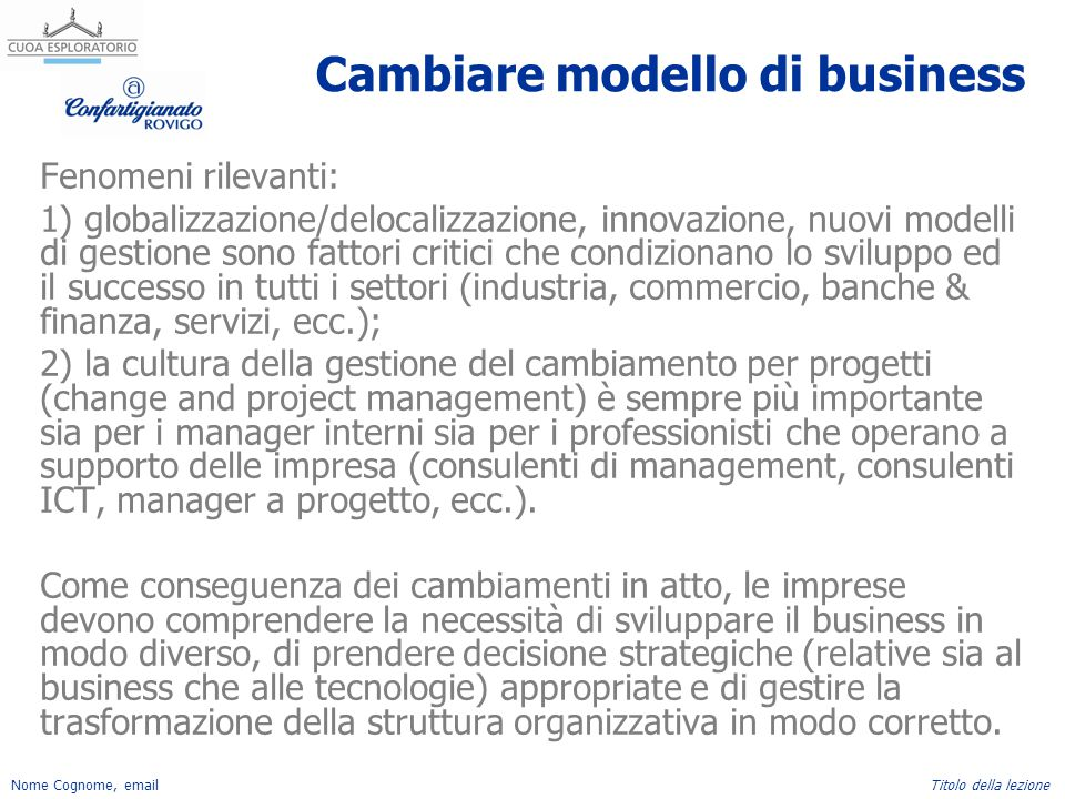 Nome Cognome, emailTitolo della lezione Cambiare modello di business Fenomeni rilevanti: 1) globalizzazione/delocalizzazione, innovazione, nuovi model