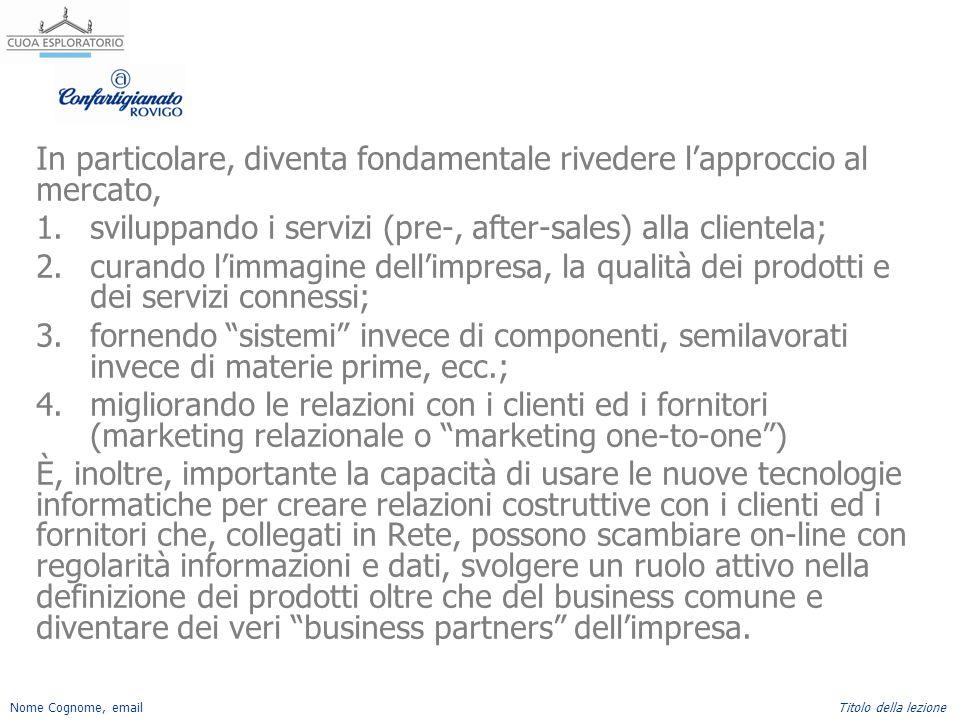 Nome Cognome, emailTitolo della lezione In particolare, diventa fondamentale rivedere l'approccio al mercato, 1.sviluppando i servizi (pre-, after-sal