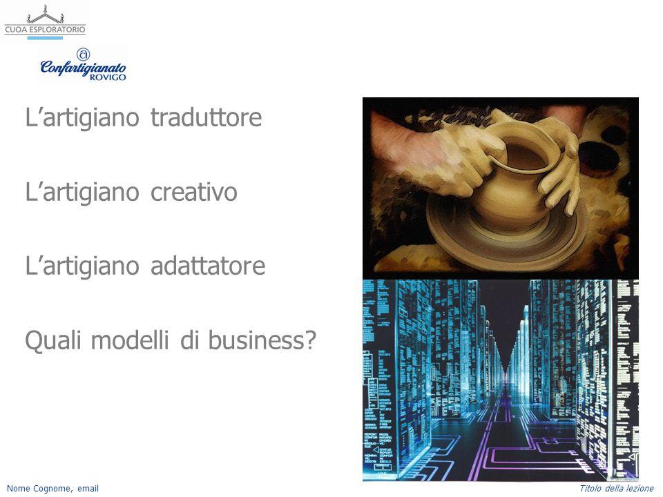 Nome Cognome, emailTitolo della lezione L'artigiano traduttore L'artigiano creativo L'artigiano adattatore Quali modelli di business?