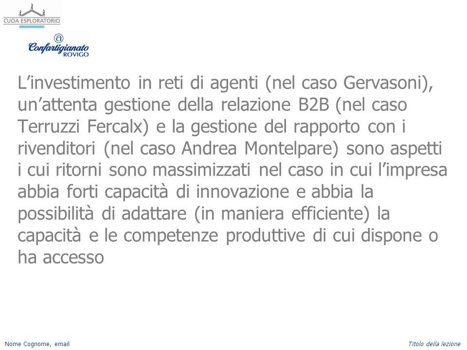 Nome Cognome, emailTitolo della lezione L'investimento in reti di agenti (nel caso Gervasoni), un'attenta gestione della relazione B2B (nel caso Terru