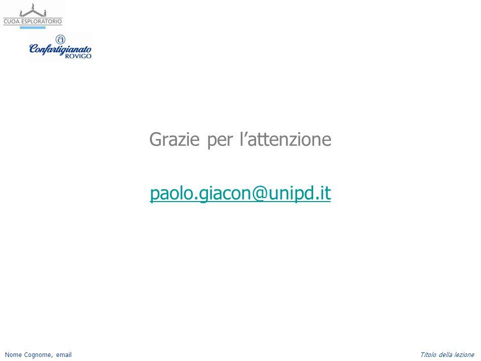 Nome Cognome, emailTitolo della lezione Grazie per l'attenzione paolo.giacon@unipd.it