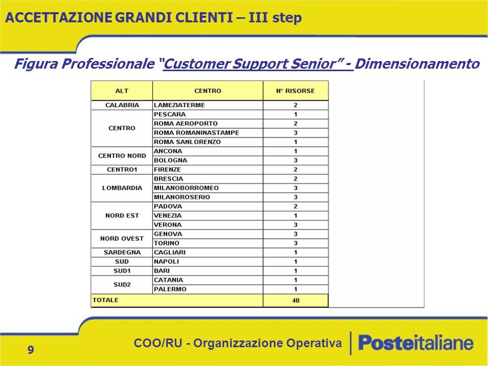 """COO/RU - Organizzazione Operativa 9 ACCETTAZIONE GRANDI CLIENTI – III step Figura Professionale """"Customer Support Senior"""" - Dimensionamento"""