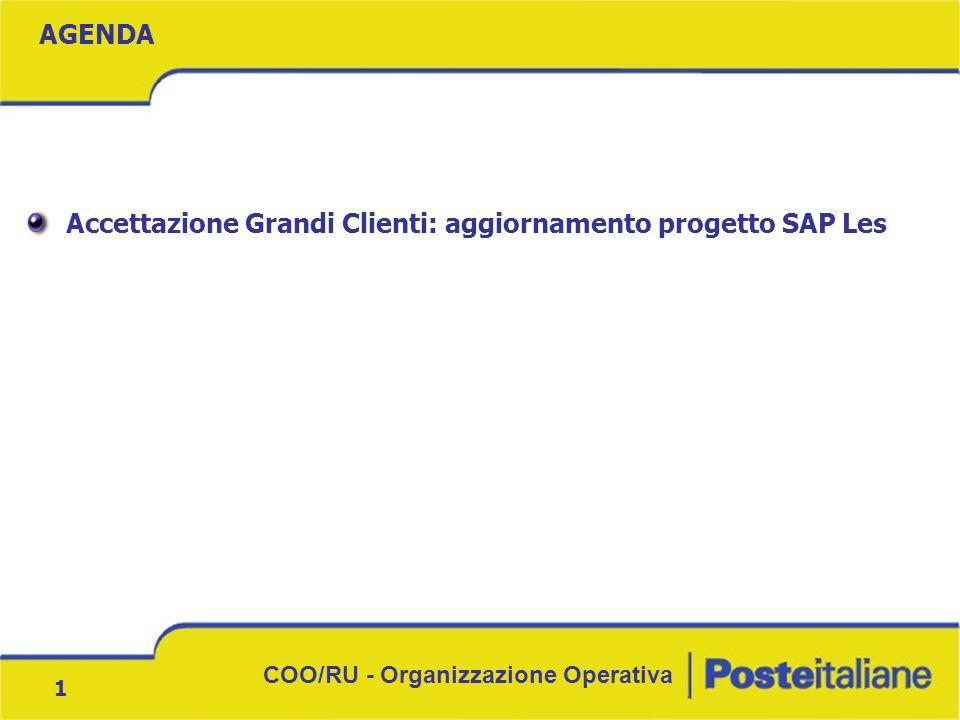 COO/RU - Organizzazione Operativa 1 Accettazione Grandi Clienti: aggiornamento progetto SAP Les AGENDA