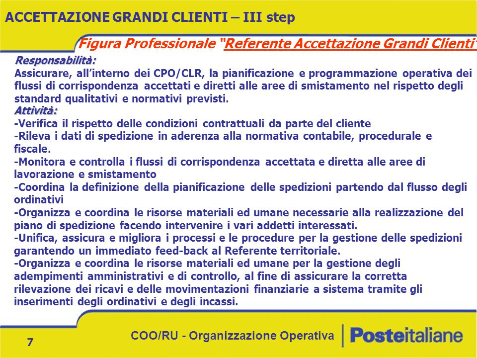 "COO/RU - Organizzazione Operativa 7 ACCETTAZIONE GRANDI CLIENTI – III step Figura Professionale ""Referente Accettazione Grandi Clienti"" Responsabilità"
