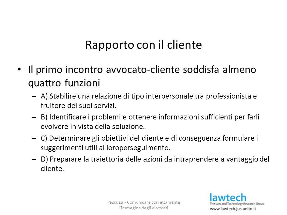 Rapporto con il cliente Il primo incontro avvocato-cliente soddisfa almeno quattro funzioni – A) Stabilire una relazione di tipo interpersonale tra pr