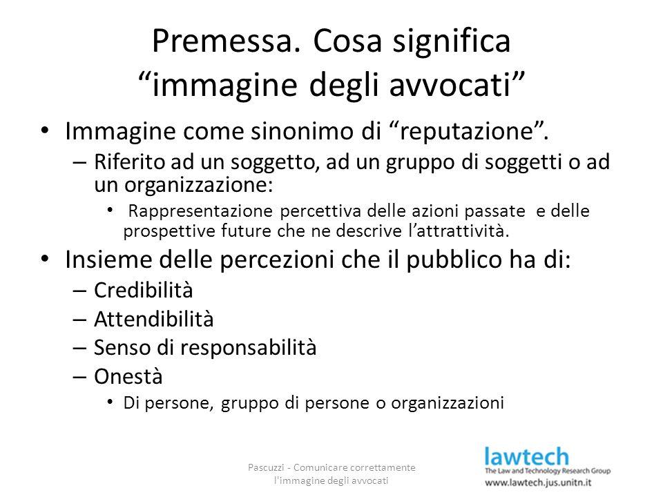 """Premessa. Cosa significa """"immagine degli avvocati"""" Immagine come sinonimo di """"reputazione"""". – Riferito ad un soggetto, ad un gruppo di soggetti o ad u"""