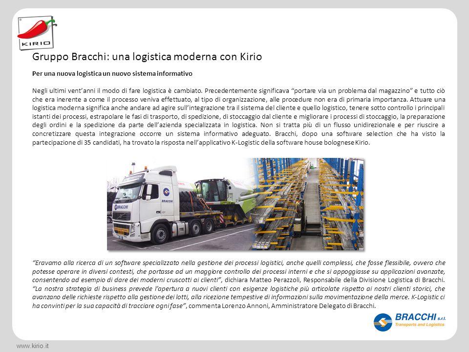 www.kirio.it Per una nuova logistica un nuovo sistema informativo Negli ultimi vent'anni il modo di fare logistica è cambiato. Precedentemente signifi