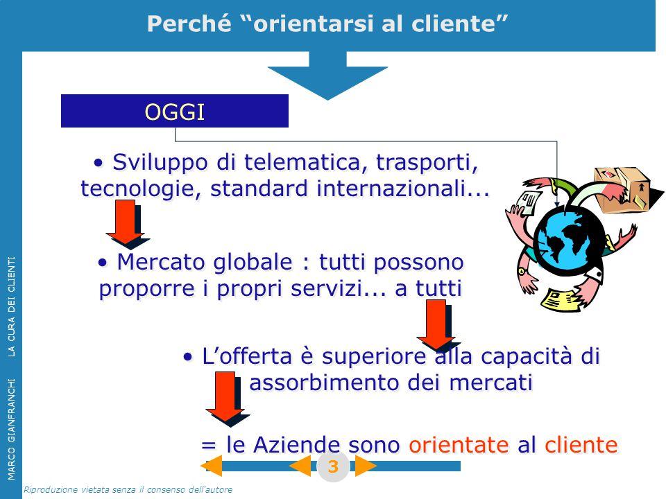 """MARCO GIANFRANCHI LA CURA DEI CLIENTI Riproduzione vietata senza il consenso dell'autore 3 Perché """"orientarsi al cliente"""" OGGI Mercato globale : tutti"""