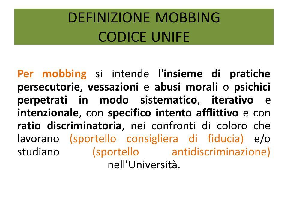 DEFINIZIONE MOBBING CODICE UNIFE Per mobbing si intende l'insieme di pratiche persecutorie, vessazioni e abusi morali o psichici perpetrati in modo si