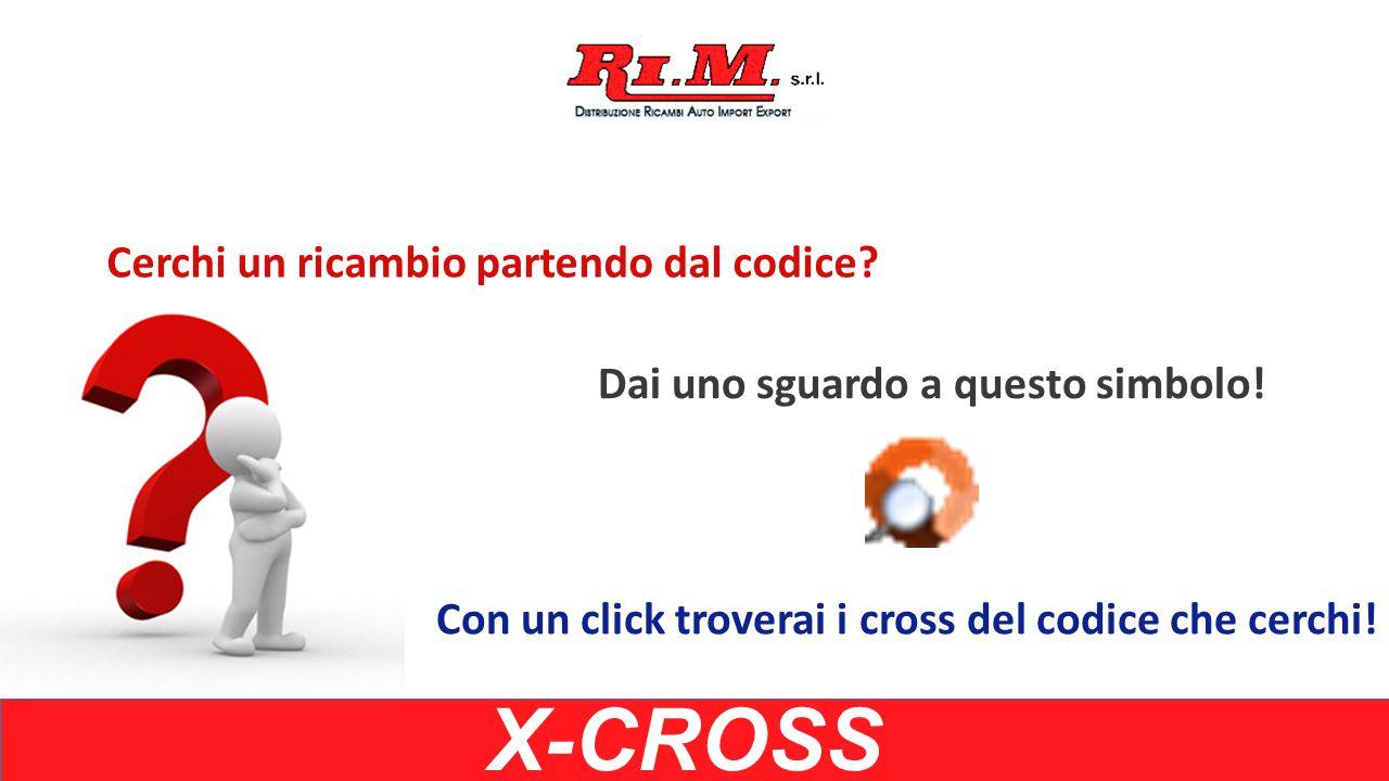 X-CROSS Inserisci un codice Il sistema ti restituirà un elenco di codici preceduti dal simbolo Ora clicca sul simbolo 11120
