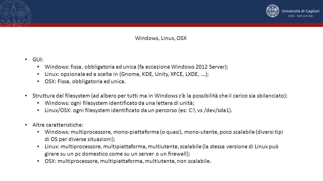 Windows, Linux, OSX GUI: Windows: fissa, obbligatoria ed unica (fa eccezione Windows 2012 Server); Linux: opzionale ed a scelta in (Gnome, KDE, Unity, XFCE, LXDE,...); OSX: Fissa, obbligatoria ed unica.