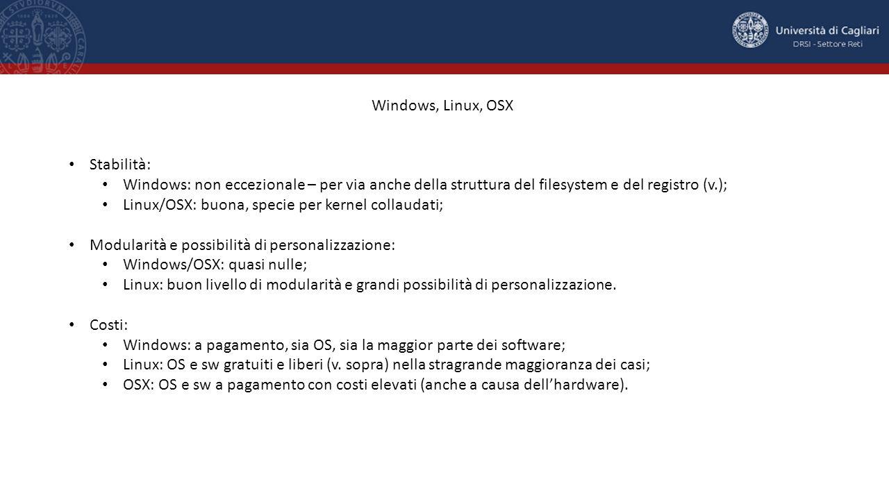 Windows, Linux, OSX Stabilità: Windows: non eccezionale – per via anche della struttura del filesystem e del registro (v.); Linux/OSX: buona, specie per kernel collaudati; Modularità e possibilità di personalizzazione: Windows/OSX: quasi nulle; Linux: buon livello di modularità e grandi possibilità di personalizzazione.
