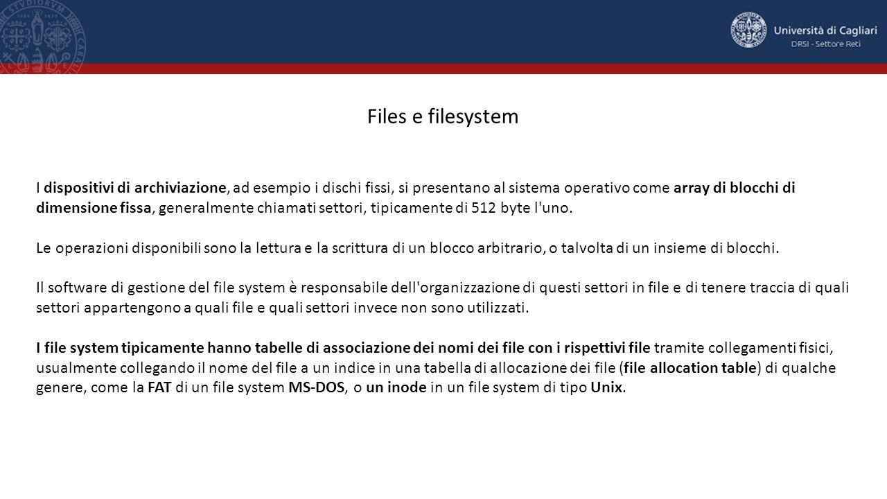 I dispositivi di archiviazione, ad esempio i dischi fissi, si presentano al sistema operativo come array di blocchi di dimensione fissa, generalmente chiamati settori, tipicamente di 512 byte l uno.
