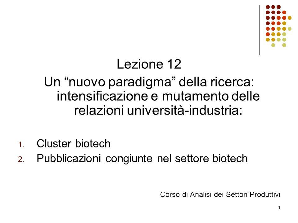 """1 Lezione 12 Un """"nuovo paradigma"""" della ricerca: intensificazione e mutamento delle relazioni università-industria: 1. Cluster biotech 2. Pubblicazion"""