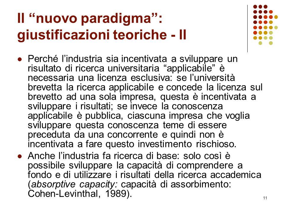"""11 Il """"nuovo paradigma"""": giustificazioni teoriche - II Perché l'industria sia incentivata a sviluppare un risultato di ricerca universitaria """"applicab"""