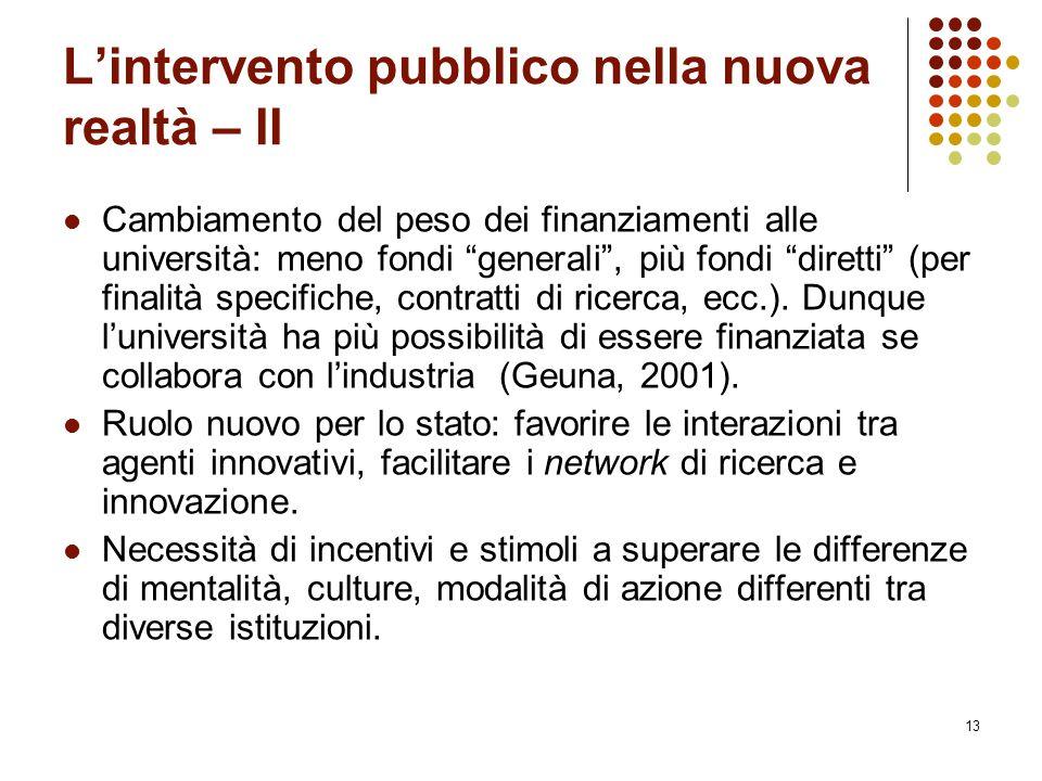 """13 L'intervento pubblico nella nuova realtà – II Cambiamento del peso dei finanziamenti alle università: meno fondi """"generali"""", più fondi """"diretti"""" (p"""