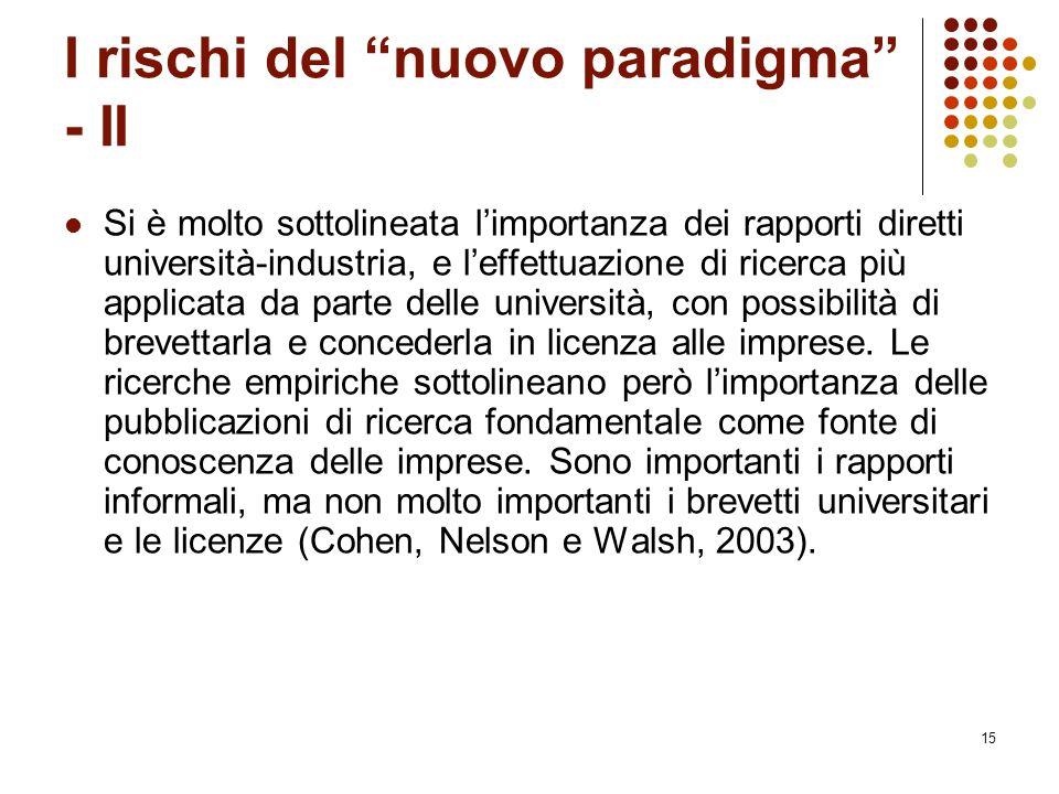 """15 I rischi del """"nuovo paradigma"""" - II Si è molto sottolineata l'importanza dei rapporti diretti università-industria, e l'effettuazione di ricerca pi"""