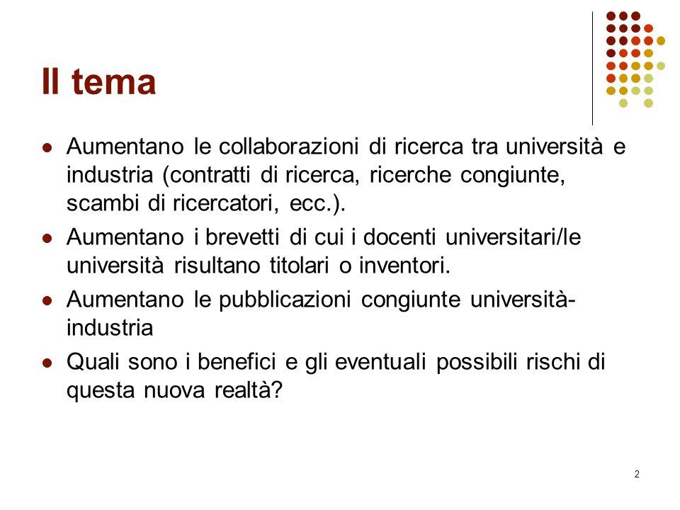 2 Il tema Aumentano le collaborazioni di ricerca tra università e industria (contratti di ricerca, ricerche congiunte, scambi di ricercatori, ecc.). A