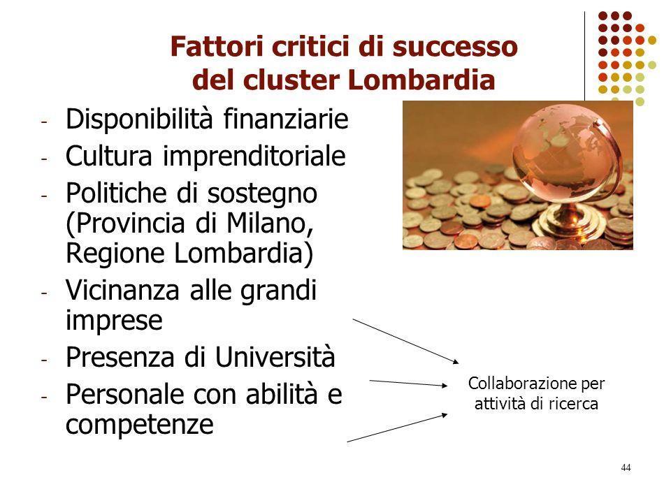 44 Fattori critici di successo del cluster Lombardia - Disponibilità finanziarie - Cultura imprenditoriale - Politiche di sostegno (Provincia di Milan