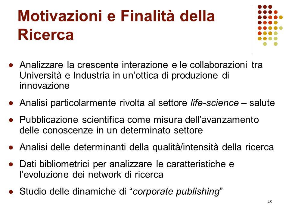 48 Motivazioni e Finalità della Ricerca Analizzare la crescente interazione e le collaborazioni tra Università e Industria in un'ottica di produzione