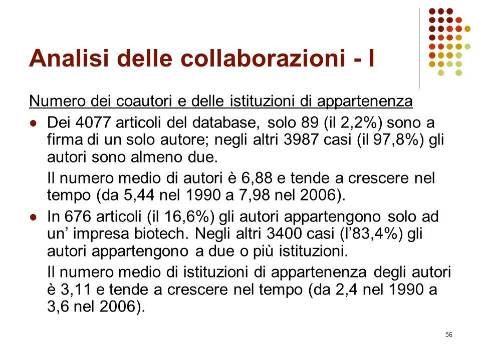 56 Analisi delle collaborazioni - I Numero dei coautori e delle istituzioni di appartenenza Dei 4077 articoli del database, solo 89 (il 2,2%) sono a f