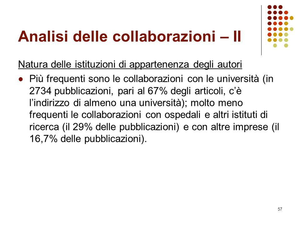 57 Analisi delle collaborazioni – II Natura delle istituzioni di appartenenza degli autori Più frequenti sono le collaborazioni con le università (in
