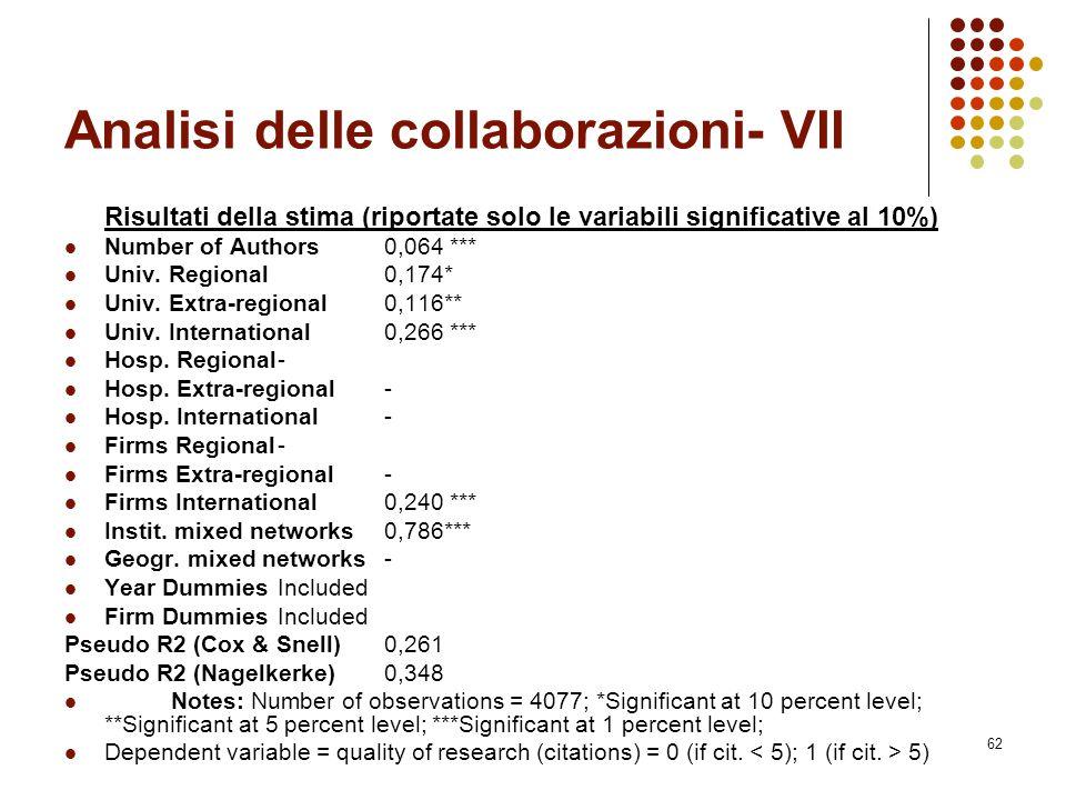 62 Analisi delle collaborazioni- VII Risultati della stima (riportate solo le variabili significative al 10%) Number of Authors0,064 *** Univ. Regiona