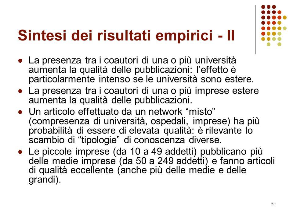 65 Sintesi dei risultati empirici - II La presenza tra i coautori di una o più università aumenta la qualità delle pubblicazioni: l'effetto è particol